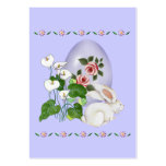 Huevo de la lavanda y conejito blanco tarjetas de visita grandes