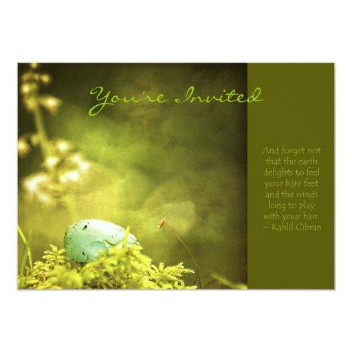 Huevo de los petirrojos en la foto del musgo con invitación 12,7 x 17,8 cm