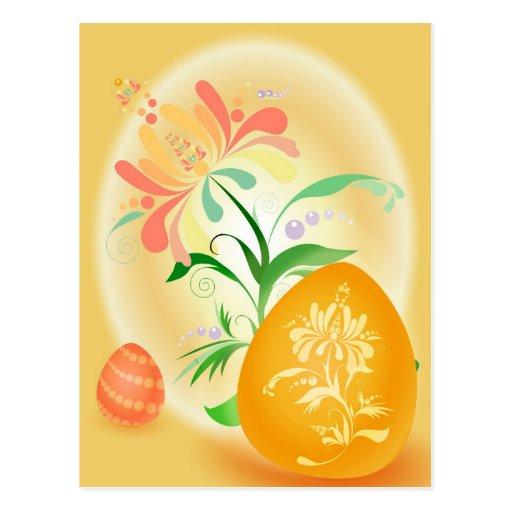 Huevo de Pascua anaranjado Postal