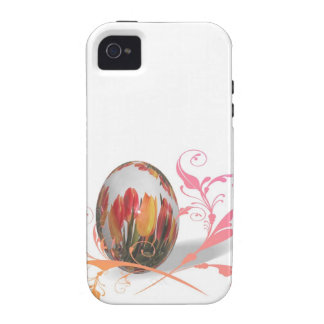 Huevo de Pascua bonito de los tulipanes Case-Mate iPhone 4 Carcasa