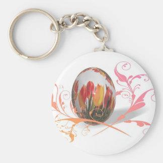 Huevo de Pascua bonito de los tulipanes Llavero Redondo Tipo Pin