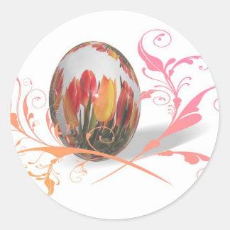 Huevo de Pascua bonito de los tulipanes Pegatina Redonda
