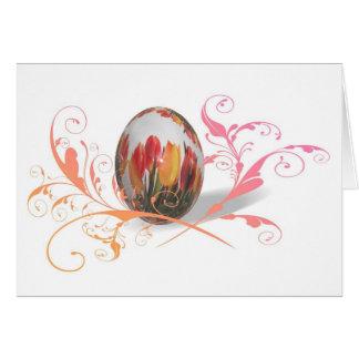 Huevo de Pascua bonito de los tulipanes Tarjeta De Felicitación