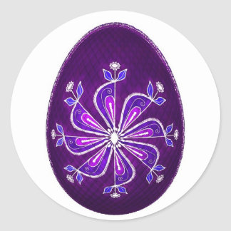 Huevo de Pascua con el estampado de plores pintado Etiqueta Redonda