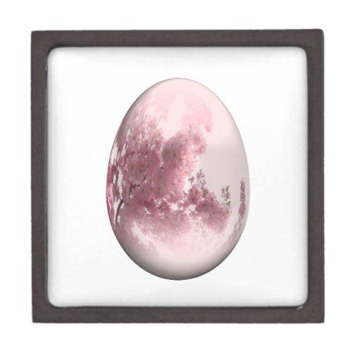 huevo de Pascua con las flores de cerezo japonesas Cajas De Joyas De Calidad