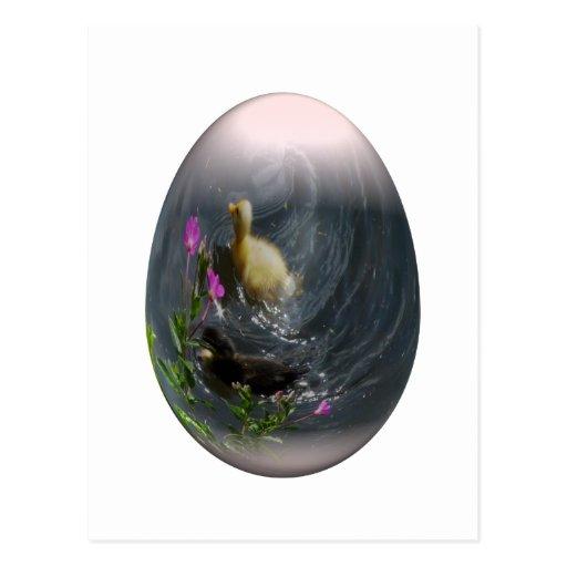 huevo de Pascua con los anadones Postales