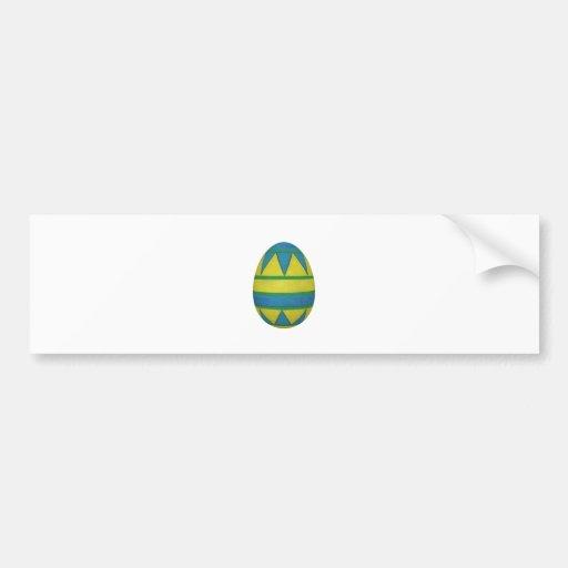 Huevo de Pascua con pintado modelo azul y amarillo Pegatina De Parachoque