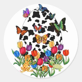 Huevo de Pascua de la piel de la vaca Etiquetas Redondas