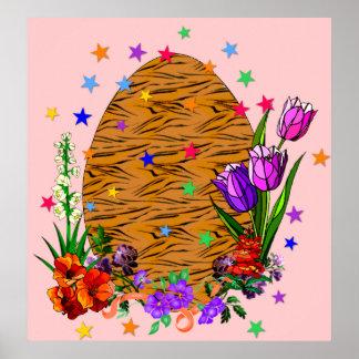 Huevo de Pascua de la piel del tigre Poster
