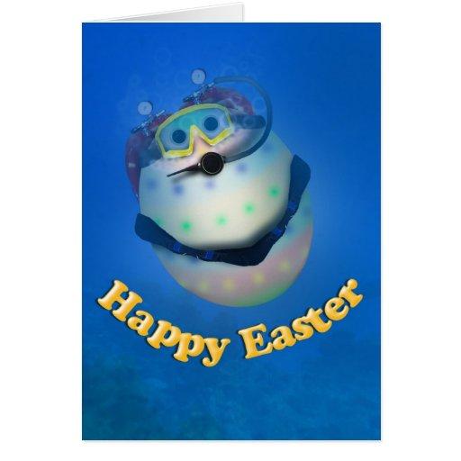 Huevo de Pascua del buceo con escafandra Downunder Tarjeta De Felicitación