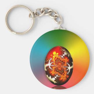 Huevo de Pascua del diseño del fractal Llavero Redondo Tipo Pin