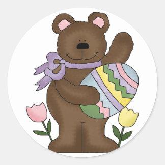 Huevo de Pascua del oso Pegatina Redonda