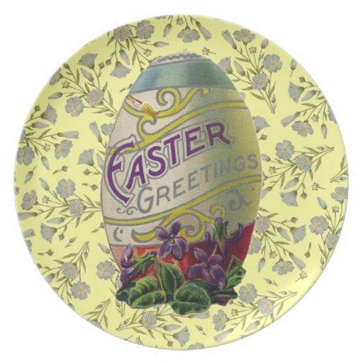 Huevo de Pascua del vintage Platos Para Fiestas