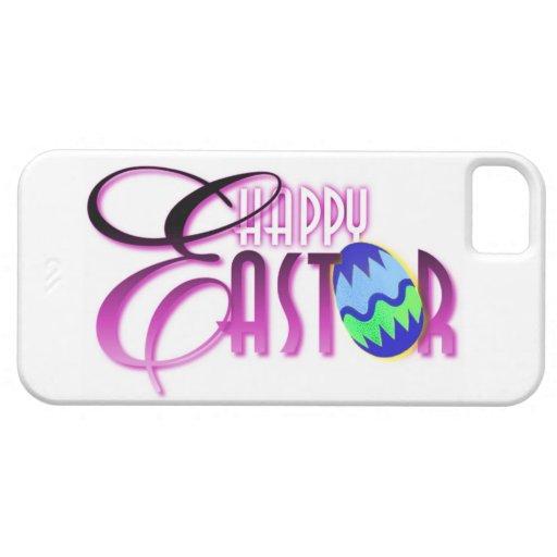 Huevo de Pascua feliz púrpura iPhone 5 Case-Mate Cárcasas
