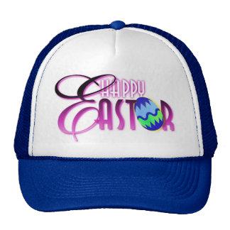 Huevo de Pascua feliz púrpura Gorros Bordados