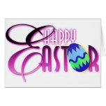 Huevo de Pascua feliz púrpura Tarjetas