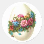 Huevo de Pascua floral Etiqueta Redonda