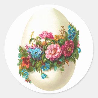 Huevo de Pascua floral Pegatina Redonda