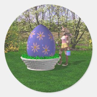 Huevo de Pascua Pegatina Redonda