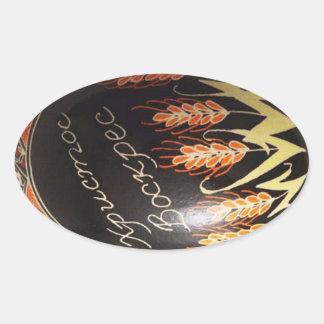 Huevo de Pascua pintado a mano del ucraniano Pegatina Óval
