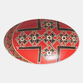 Huevo de Pascua pintado a mano del ucraniano Calcomanías De Óvales Personalizadas