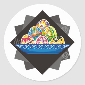 huevo de Pascua pintado ucraniano (9) Etiqueta Redonda