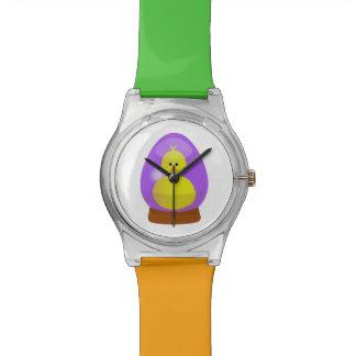 Huevo de Pascua púrpura un dibujo animado del pato Reloj De Mano