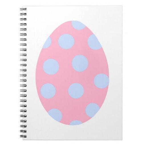 Huevo de Pascua rosado y azul del lunar Libro De Apuntes Con Espiral