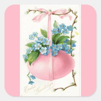 Huevo de Pascua rosado y pegatina cuadrado de las