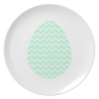 Huevo de Pascua verde en colores pastel del zigzag Plato Para Fiesta