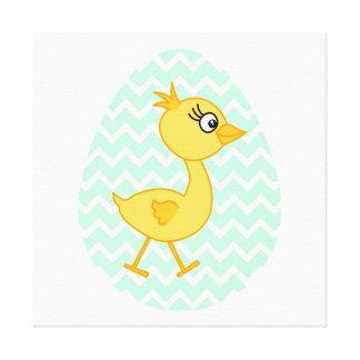 Huevo de Pascua y polluelo lindo Impresión De Lienzo