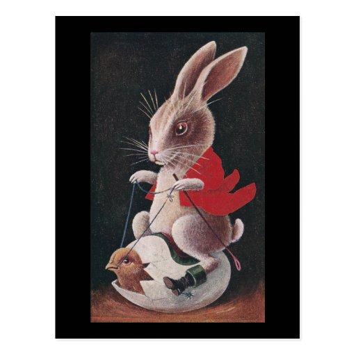Huevo del montar a caballo del conejo de Pascua Postal