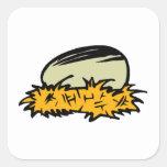 Huevo del pájaro calcomania cuadradas personalizada