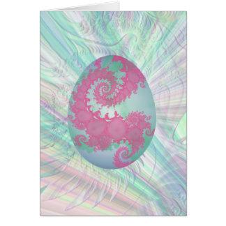 Huevo del rosa, verde y azul pintada tarjeta de felicitación
