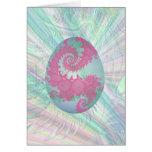 Huevo del rosa, verde y azul pintada tarjetas