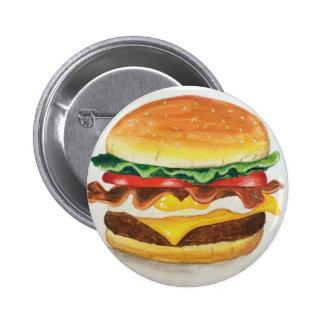 Huevo del tocino y botón del cheeseburger pin redondo de 2 pulgadas