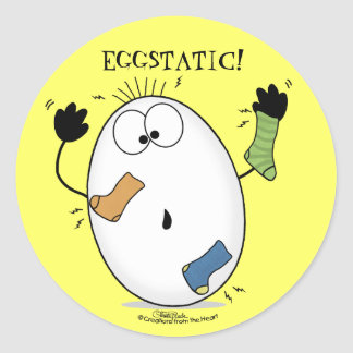 Huevo Eggstatic-Extático Pegatina Redonda