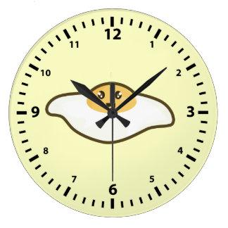Huevo frito de Kawaii Reloj Redondo Grande