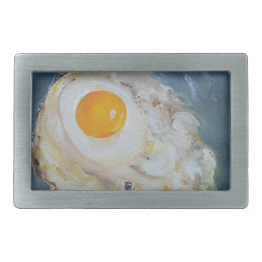 Huevo frito del Soleado-Lado-Para arriba Hebillas Cinturon Rectangulares