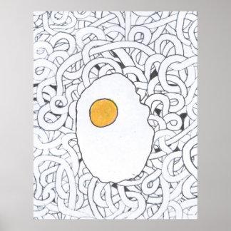 Huevo frito en los espaguetis póster