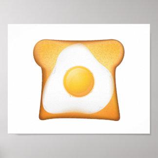 Huevo frito en tostada póster
