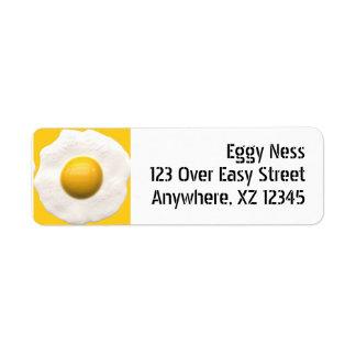 Huevo frito etiquetas de remite