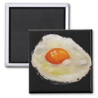 Huevo frito: Pintura al óleo del realismo: Comida Imán Cuadrado