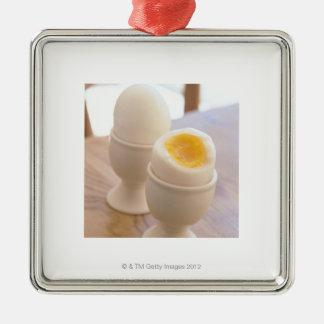 Huevo hervido adorno cuadrado plateado