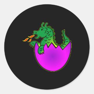 Huevo negro del dragón del bebé pegatina redonda