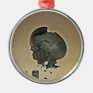 Huevo Noir Adorno Redondo Plateado