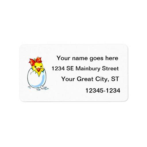 huevo para incubar de la cinta roja del polluelo etiquetas de dirección