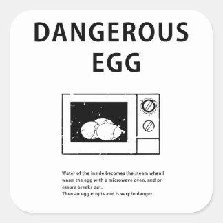 Huevo peligroso pegatina cuadrada