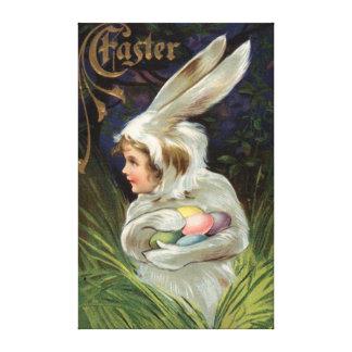 Huevo pintado coloreado traje del conejito de impresión en lienzo