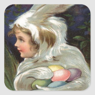 Huevo pintado coloreado traje del conejito de pegatina cuadrada